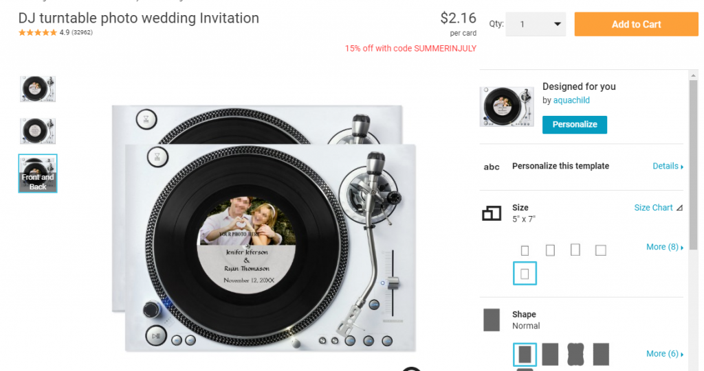 New Smyrna DJ Wedding Invite